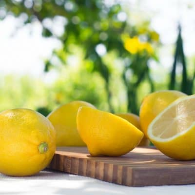 lemons on outdoor picnic table