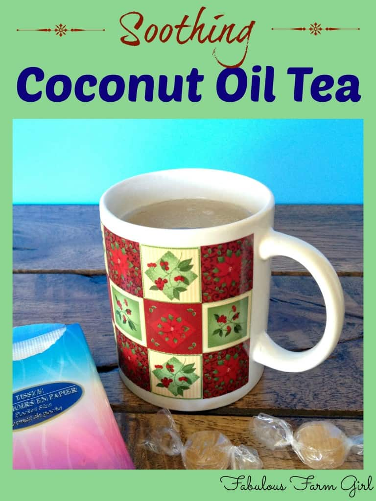 Soothing Coconut oil Tea by FabulousFarmGirl. Coconut oil, honey and essential oils all come together in this delicious, immunity boosting tea. Enjoy!