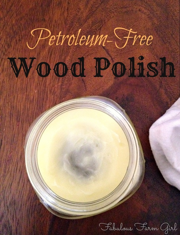 Petroleum-Free Wood polish by FabulousFarmGirl. This all-natural furniture polish works better than any of the stinky ones from the store. Easy to make, easy to use.