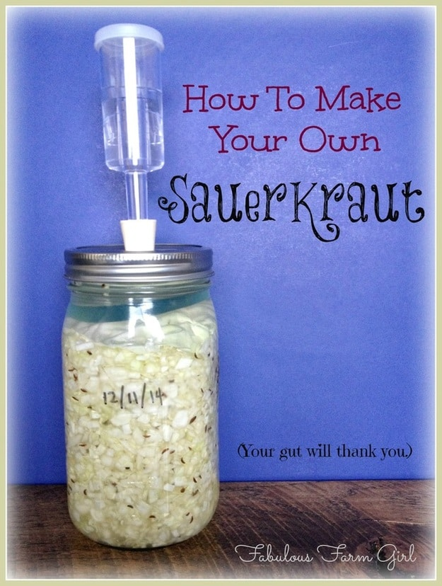 How to Ferment Your Own Sauerkraut by FabulousFarmGirl. Making sauerkraut is cheap, easy, delicious and so good for your gut health but only if it's homemade.