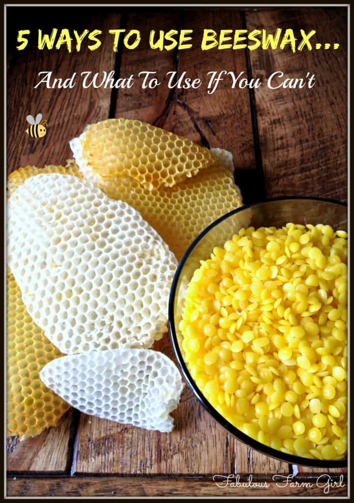 Beeswax: 5 Amazing Ways To Use It + 4 Alternatives by FabulousFarmGirl. Beeswax has so many amazing properties and so many fun uses. It's one of my favorite all-natural ingredients.